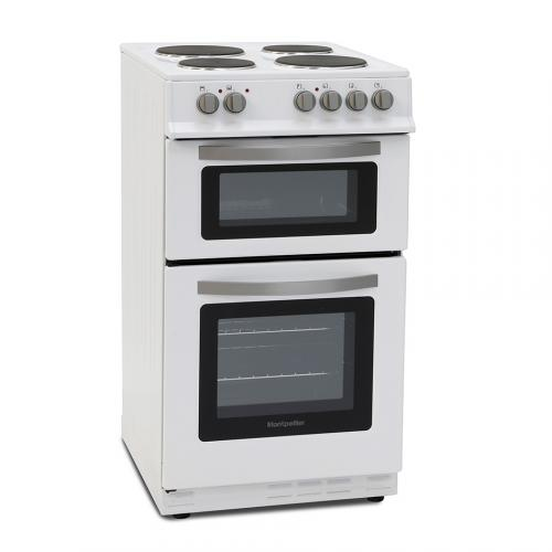 MONTPELLIER WHITE 50CM TWIN CAVITY ELECTRIC COOKER WITH SOLID PLATE HOB - MTE51W